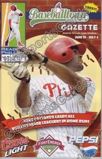 Mike Costanzo 2007 Reading Phillies Gazette Program (SGA)