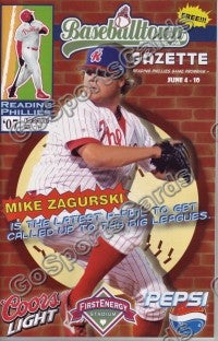 Mike Zagurski 2007 Reading Phillies Gazette Program (SGA)