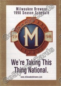 1998 Milwaukee Brewers Pocket Schedule