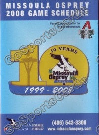 2008 Missoula Osprey Pocket Schedule