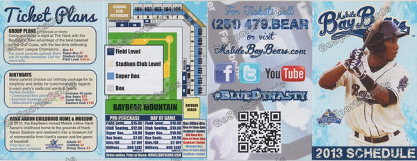 2013 Mobile Baybears Pocket Schedule (Flat)