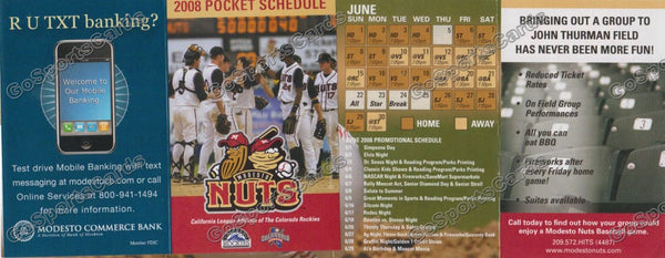 2008 Modesto Nuts Pocket Schedule (Flat)