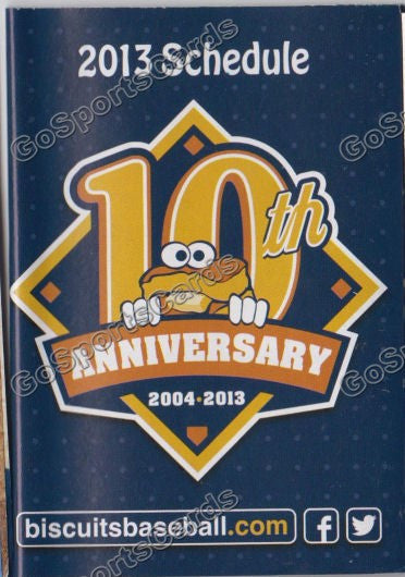 2013 Montgomery Biscuits Pocket Schedule (10th Anniversary)