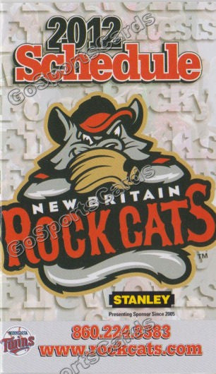 2012 New Britain Rock Cats Pocket Schedule