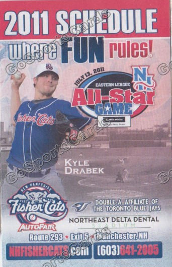 2011 New Hampshire Fishercats Pocket Schedule (Kyle Drabek, All Star Game)