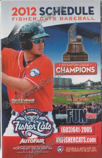 2012 New Hampshire FisherCats Pocket Schedule (Travis D'Arnaud 2011 Eastern League MVP)