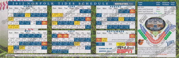 2012 Norfolk Tides Pocket Schedule (Flat)