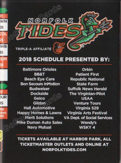 2018 Norfolk Tides Pocket Schedule