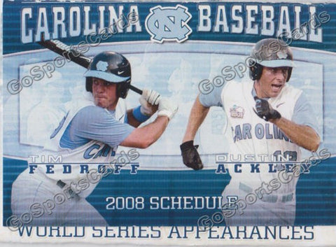Dustin Ackley Tim Fedroff 2008 North Carolina Tar Heels Pocket Schedule