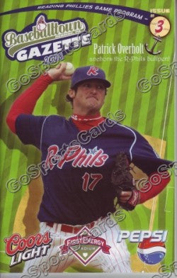 Pat Overholt 2008 Reading Phillies Gazette Program (SGA)