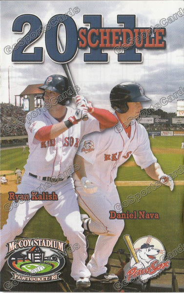 2011 Pawtucket Red Sox Pocket Schedule (Ryan Kalish, Daniel Nava)
