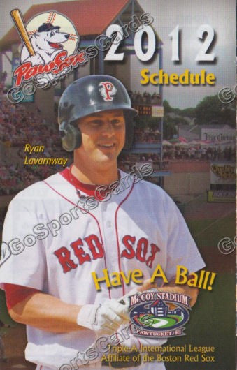 2012 Pawtucket Red Sox Pocket Schedule (Ryan Lavarnway)