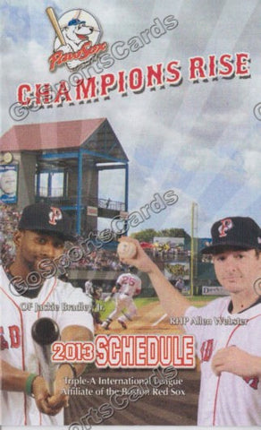 2013 Pawtucket Red Sox Pocket Schedule (Jackie Bradley Jr, Allen Webster)