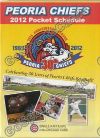 2012 Peoria Chiefs Pocket Schedule 30th Anniversary