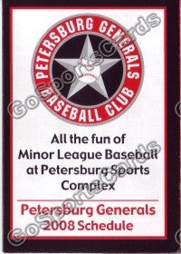 2008 Petersburg Generals Pocket Schedule