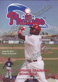 2007 Philadelphia Phillies Spring Training Pocket Schedule (Ryan Howard MVP)