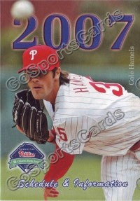 2007 Philadelphia Phillies Hamels Pocket Schedule