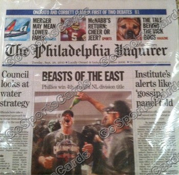 "2010 NLCS Champions Philadelphia Phillies Newspaper ""Beasts of the East"""