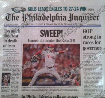 "2010 NLCS Champions Philadelphia Phillies Newspaper ""Sweep"" Swept Reds"