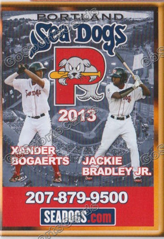 2013 Portland Sea Dogs Pocket Schedule (Xander Bogaerts, Jackie Bradley Jr)