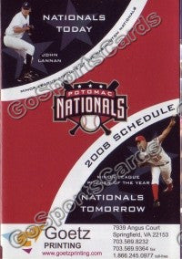 2008 Potomac Nationals Pocket Schedule