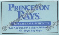 2010 Princeton Rays Pocket Schedule