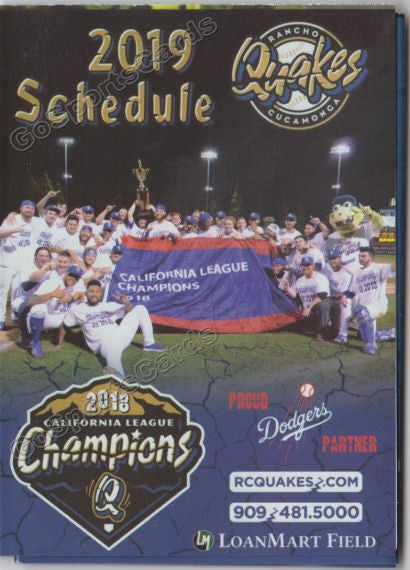 2019 Rancho Cucamonga Quakes Pocket Schedule (2018 California League Champions)