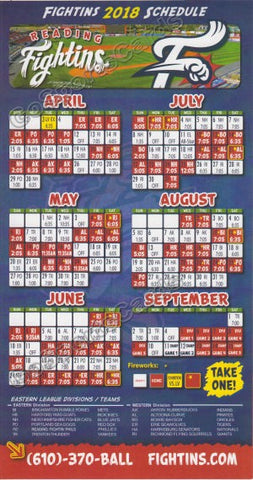 2018 Reading Fightin Phils Magnet Pocket Schedule