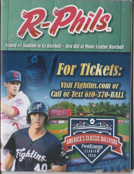 2019 Reading Fightin Phils Pocket Schedule (Aaron Nola, Adam Haseley, Rhys Hoskins, Ryan Howard)