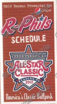 2012 Reading Phillies Pocket Schedule (All Star Game)
