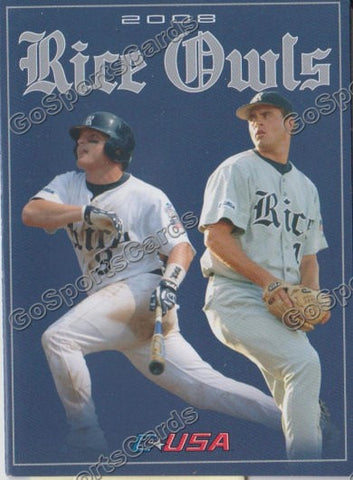 Aaron Luna Cole St Clair 2008 Rice Owls Pocket Schedule