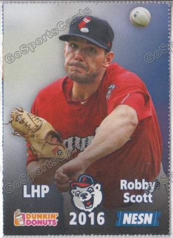 2016 Pawtucket Red Sox SGA Dunkin Donuts Robby Scott
