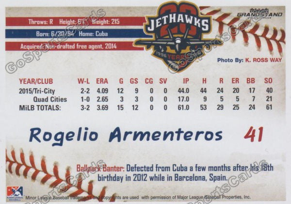 2016 Lancaster JetHawks Rogelio Armenteros Back of Card