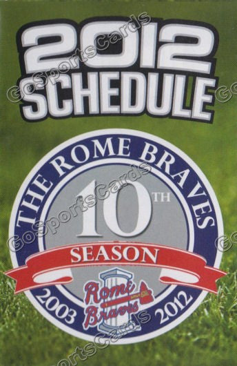 2012 Rome Braves Pocket Schedule