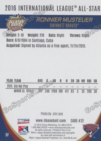 2016 International League All Star Ronnier Mustelier Back of Card