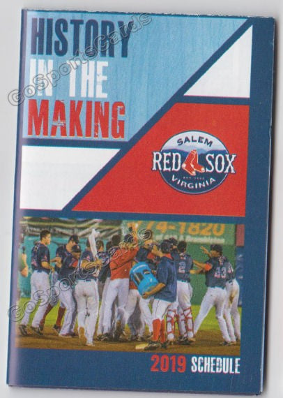 2019 Salem Red Sox Pocket Schedule
