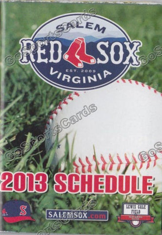 2013 Salem Red Sox Pocket Schedule