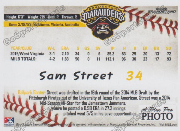 2016 Bradenton Marauders Sam Street Back of Card