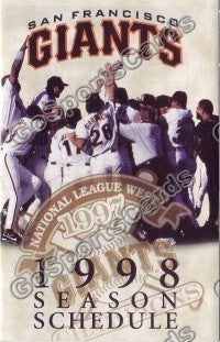 1998 San Francisco Giants Pocket Schedule