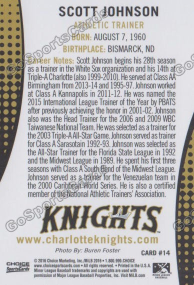 2016 Charlotte Knights Scott Johnson Back of Card