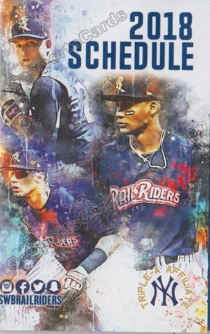 2018 Scanton Wilkes Barre RailRiders Pocket Schedule (Gleyber Torres Chance Adams Miguel Andujar)