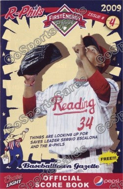Sergio Escalona 2009 Reading Phillies Gazette Program (SGA)
