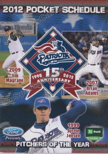 2012 Somerset Patriots Pocket Schedule 15th Annivesary (Jim Magrane, Brian Adams, Justin Jensen)
