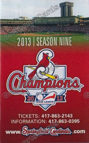 2013 Springfield Cardinals Pocket Schedule (2012 Texas League Champions)