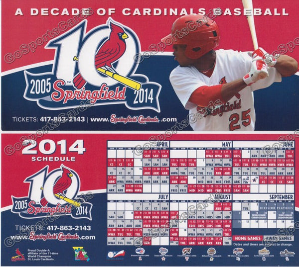 2014 Springfield Cardinals Pocket Schedule Flyer (Oscar Taveras, 10 Years)