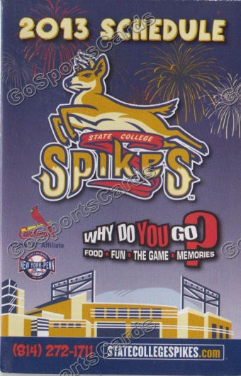 2013 State College Spikes Pocket Schedule