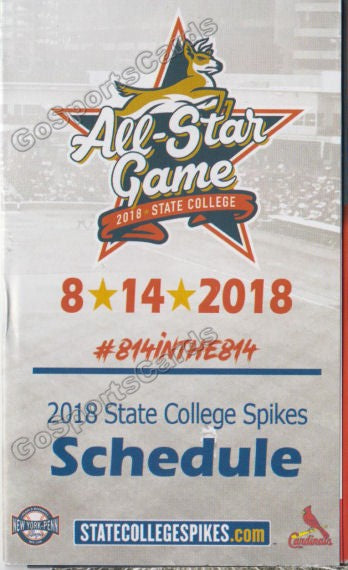2018 State College Spikes Pocket Schedule (2018 NYPL All Star Game)