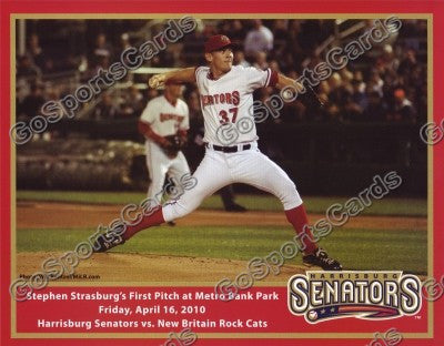 Stephen Strasburg 2010 Harrisburg Senators 1st Pitch 8x10 Photo (SGA)