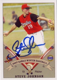 Steve Johnson 2007 Hawaii Winter League West Oahu Canefires (Autograph)