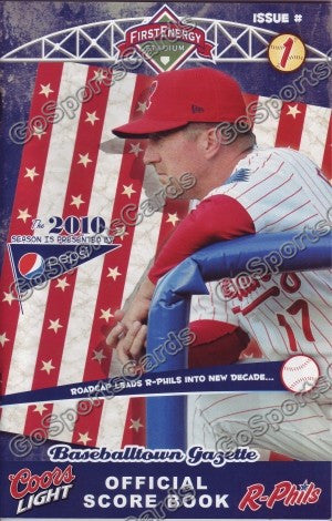Steve Roadcap 2010 Reading Phillies Gazette Program (SGA)